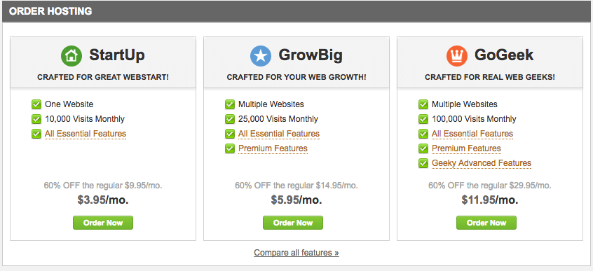 SiteGround Pricing Options for their shared Managed WordPress Hosting Plans